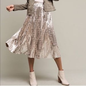 NWT Anthropologie Maeve metallic pleated skirt 8